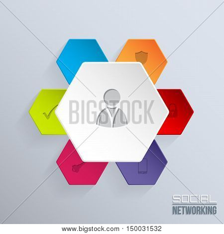 Social network badge with man silhouette in center and other icons