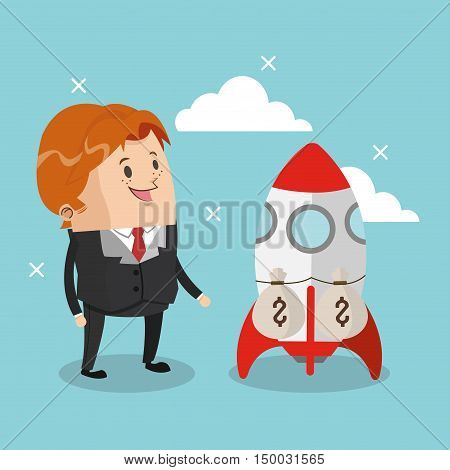 Businessman cartoon and rocket icon. Business strategy solution and work theme. Colorful design. Vector illustration