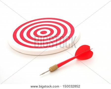 Red bullseye dart arrow and red dartboard isolated on white background.
