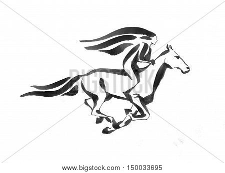 Girl riding a running horse, outline handdrawed illustration, isolated on white background