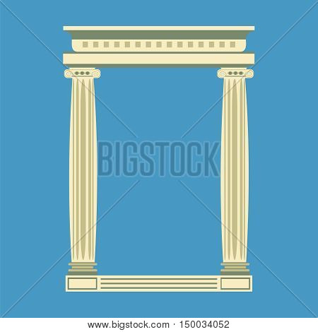 Antique marble temple front with ionic columns vector illustration