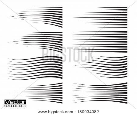 Speed lines set. Motion effects collection for your design. Vector template illustration
