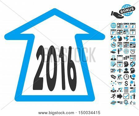 2016 Ahead Arrow pictograph with bonus calendar and time management elements. Vector illustration style is flat iconic bicolor symbols, blue and gray colors, white background.