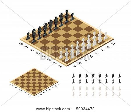Classical chessboard with chess figures in isometric view isolated on white