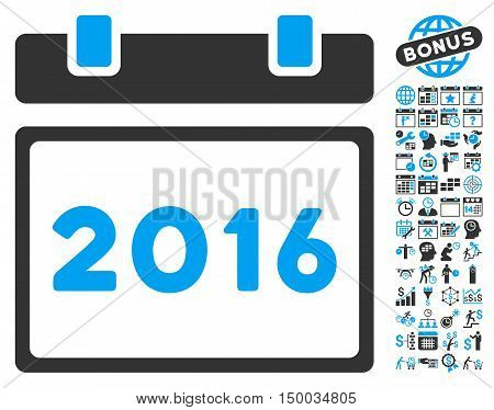 2016 Calendar pictograph with bonus calendar and time management design elements. Vector illustration style is flat iconic bicolor symbols, blue and gray colors, white background.
