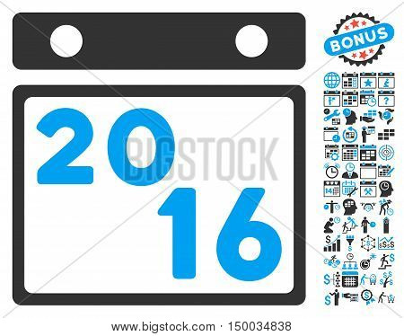 2016 Calendar icon with bonus calendar and time management icon set. Vector illustration style is flat iconic bicolor symbols, blue and gray colors, white background.