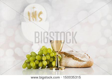 Holy communion elements on white background