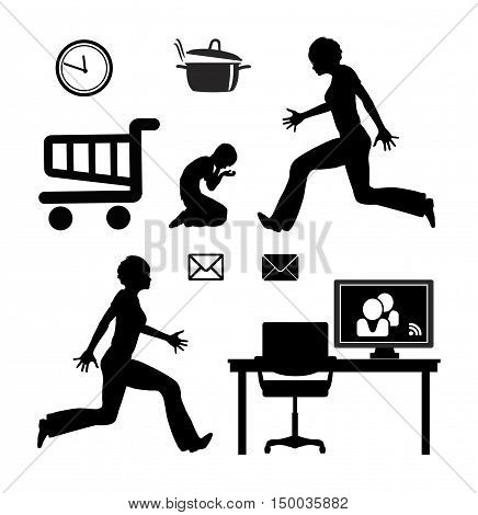 Home Office Stress. Mother busy with domestic work and child and work from home