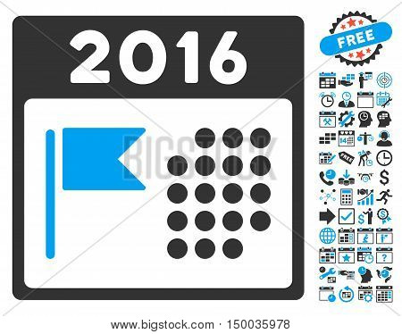 2016 Holiday Calendar pictograph with bonus calendar and time management elements. Vector illustration style is flat iconic bicolor symbols, blue and gray colors, white background.