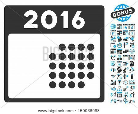 2016 Month Calendar icon with bonus calendar and time management pictograph collection. Vector illustration style is flat iconic bicolor symbols, blue and gray colors, white background.