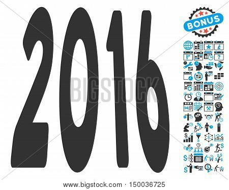 2016 Perspective icon with bonus calendar and time management elements. Vector illustration style is flat iconic bicolor symbols, blue and gray colors, white background.