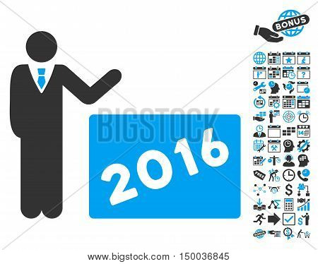 2016 Show pictograph with bonus calendar and time management symbols. Vector illustration style is flat iconic bicolor symbols, blue and gray colors, white background.