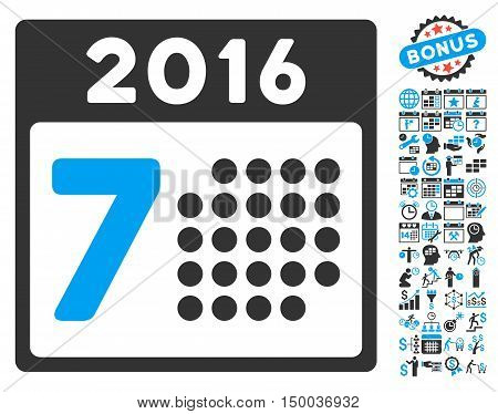 2016 Week Calendar icon with bonus calendar and time management elements. Vector illustration style is flat iconic bicolor symbols, blue and gray colors, white background.