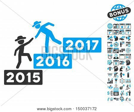 Annual Gentleman Help pictograph with bonus calendar and time management images. Vector illustration style is flat iconic bicolor symbols, blue and gray colors, white background.