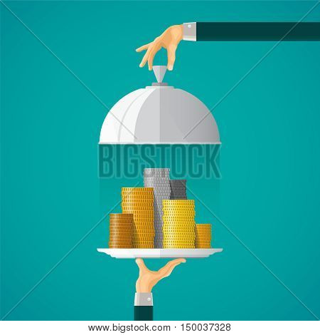 Money On Cloche Tray Vector Concept In Flat Style