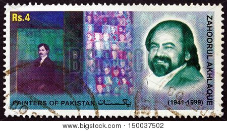 PAKISTAN - CIRCA 2006: a stamp printed in Pakistan shows Zahoorul Akhlaque Painter circa 2006