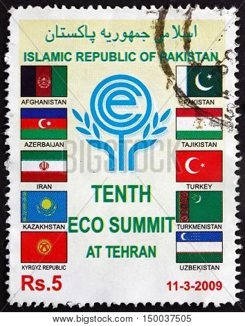 PAKISTAN - CIRCA 2009: a stamp printed in Pakistan dedicated to 10th ECO Summit at Tehran Iran circa 2009