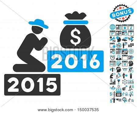 Pray for Money 2016 pictograph with bonus calendar and time management symbols. Vector illustration style is flat iconic bicolor symbols, blue and gray colors, white background.