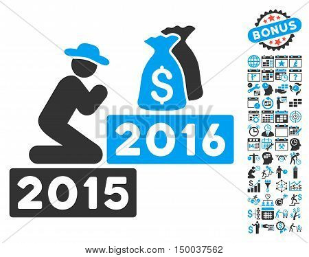 Pray for Money 2016 icon with bonus calendar and time management icon set. Vector illustration style is flat iconic bicolor symbols, blue and gray colors, white background.