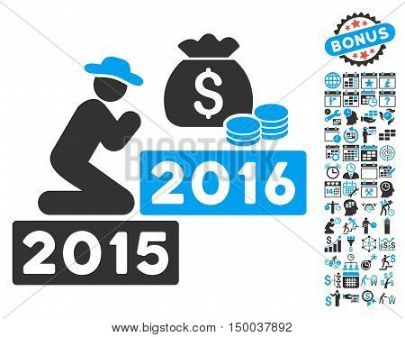 Pray for Money 2016 icon with bonus calendar and time management pictures. Vector illustration style is flat iconic bicolor symbols, blue and gray colors, white background.