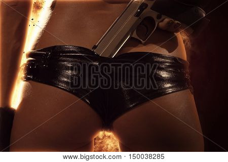 Action babe Woman with gun