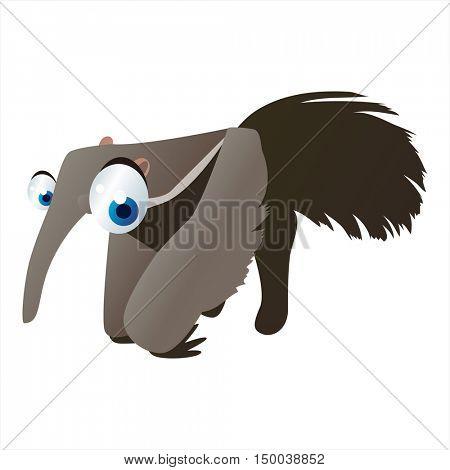 vector cute cartoon colorful animal. Comic cool image Anteater