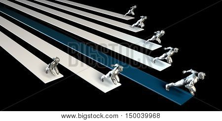 Business People Racing or Running in a Race 3D Illustration Render
