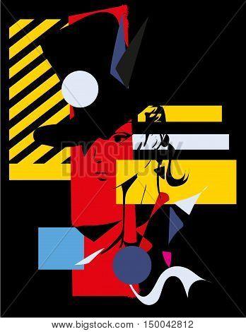 Modern girl black background cubism. Vector illustration.