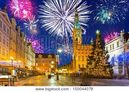 New Year fireworks display in Gdansk, Poland