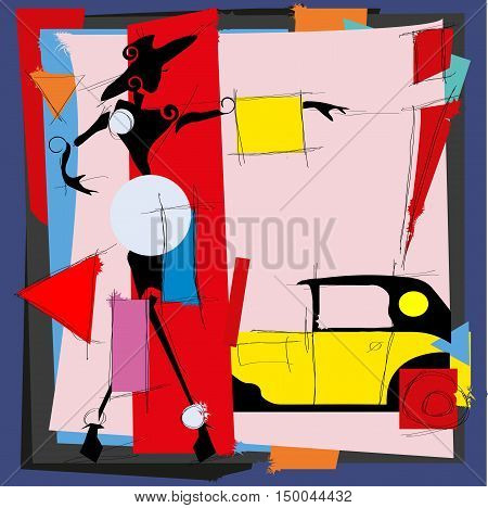 Fashion illustration in the style of cubism Vector illustration