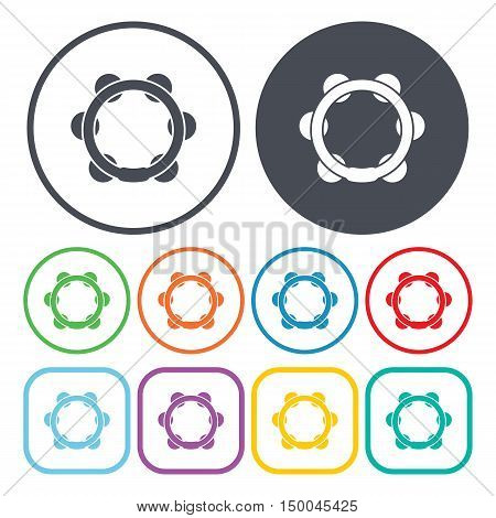 vector illustration of  tambourine icon in simple style isolated on background. Stock vector symbol.