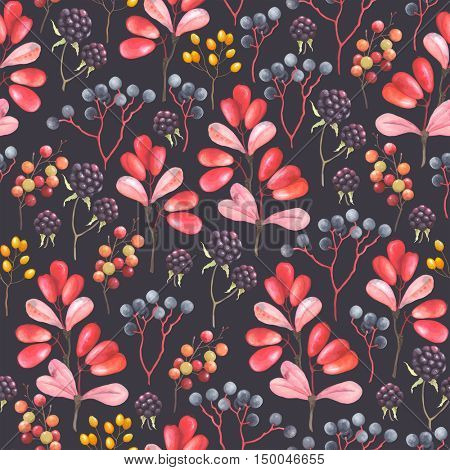 Abstraction seamless pattern with blackberry, barberry and branches plants. Vector illustration in vintage style on dark background.