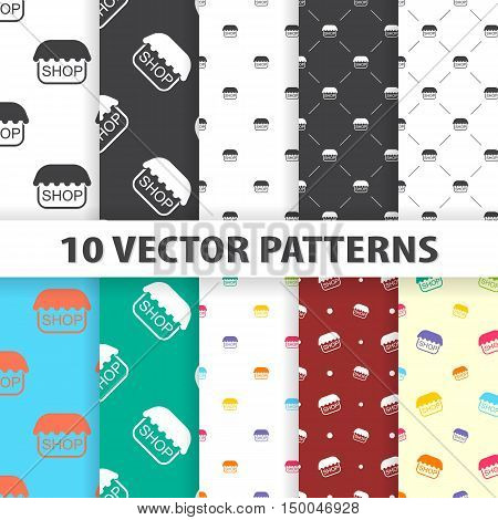 vector illustration of shop icon pattern in simple style isolated on background. Stock vector symbol.
