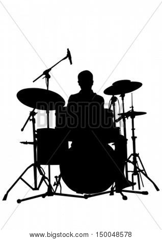 Drum kit for rock band on a white background