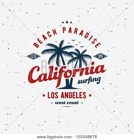 California surfing typography for t-shirt print. Apparel fashion design. Vector illustration