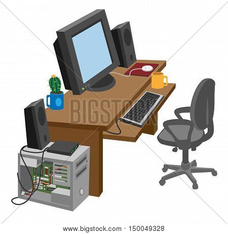 cartoon a work desk with a computer on a white background