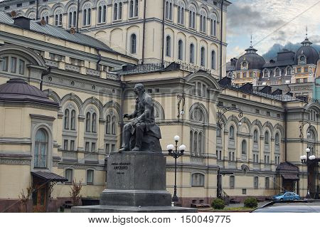 View to the National Opera House in Kiev, Ukraine. The building designed by Victor Schroter and opened on September 29, 1901