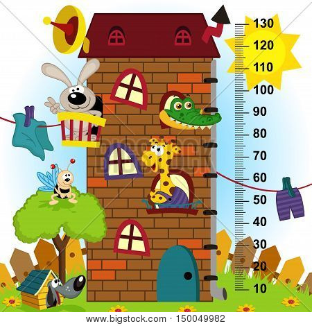 house height  measure (in original proportions 1:4) - vector illustration, eps