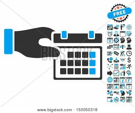 Calendar Properties Hand icon with bonus calendar and time management pictures. Vector illustration style is flat iconic bicolor symbols, blue and gray colors, white background.