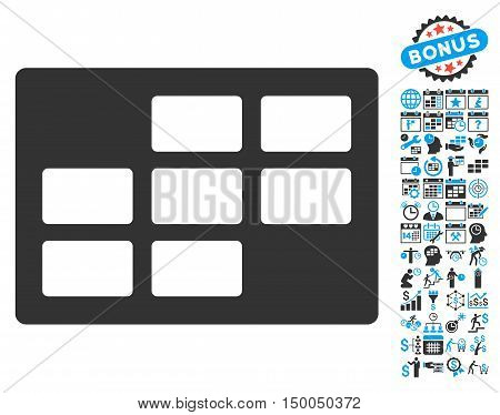 Calendar Table pictograph with bonus calendar and time management design elements. Vector illustration style is flat iconic bicolor symbols, blue and gray colors, white background.