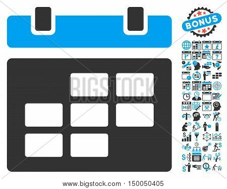 Calendar icon with bonus calendar and time management icon set. Vector illustration style is flat iconic bicolor symbols, blue and gray colors, white background.