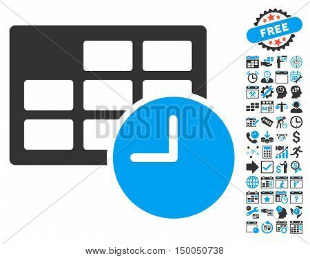 Date and Time pictograph with bonus calendar and time management icon set. Vector illustration style is flat iconic bicolor symbols, blue and gray colors, white background.