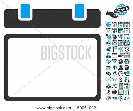 Empty Calendar Page pictograph with bonus calendar and time management icon set. Vector illustration style is flat iconic bicolor symbols, blue and gray colors, white background.