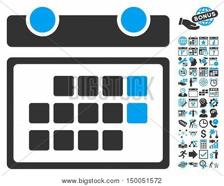 Month Calendar icon with bonus calendar and time management icon set. Vector illustration style is flat iconic bicolor symbols, blue and gray colors, white background.