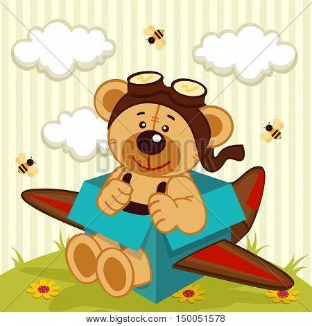 teddy bear made plane - vector  illustration, eps