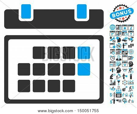 Month Calendar pictograph with bonus calendar and time management icon set. Vector illustration style is flat iconic bicolor symbols, blue and gray colors, white background.