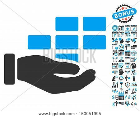 Schedule Service Hand pictograph with bonus calendar and time management icon set. Vector illustration style is flat iconic bicolor symbols, blue and gray colors, white background.