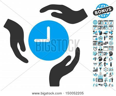Time Care Hands icon with bonus calendar and time management design elements. Vector illustration style is flat iconic bicolor symbols, blue and gray colors, white background.