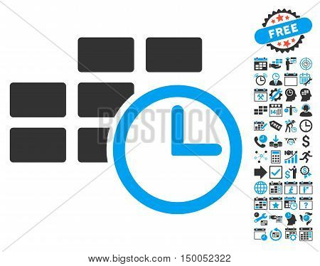 Time Table pictograph with bonus calendar and time management design elements. Vector illustration style is flat iconic bicolor symbols, blue and gray colors, white background.