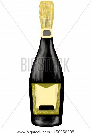 prosecco bottle isolated on a white background